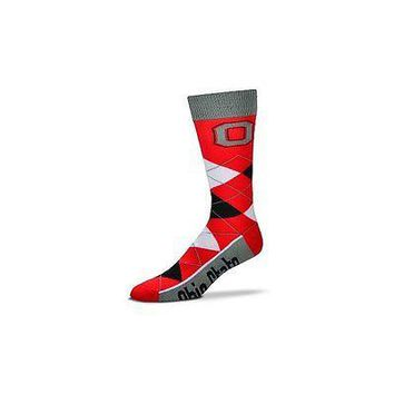 NCAA Ohio State Buckeyes Argyle Unisex Crew Cut Socks - One Size Fits Most
