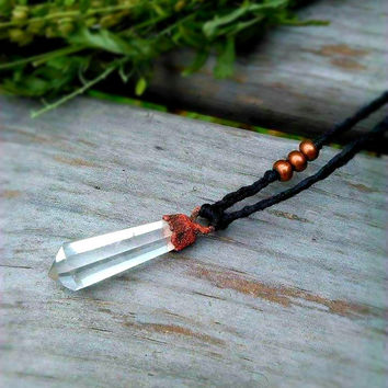 Crystal Quartz Necklace | Copper Electroformed | Quartz Point Macrame Necklace | Organic Hemp Jewelry | Zen Boho Layering Crystal necklace