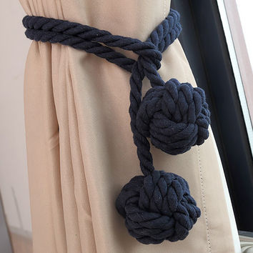 One Pair American Country Style curtain Clasps Holders Cotton Rope Balls Window Curtain Buckle Curtain Tieback House Decor