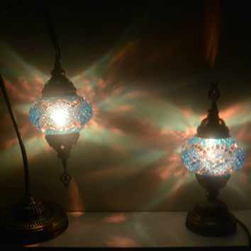 Moroccan, Lantern, Table Light, Turkish Lamp, Night Shade, Mosaic Glass, Blue Lamp, Blue Table Lamp, Lamp