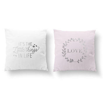 SET of 2 Pillows, Its The Little Things In Life, Love Pillow, Nursery Decor, Throw Pillow, Cushion Cover, Gold Decorative Pillow,Kids Pillow