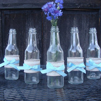 Set of 5 Burlap Ribbon and Blue Bow Wrapped Bottles, Rustic wedding Centerpiece, Country Wedding Centerpiece, Barn Wedding Centerpiece