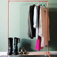 Copper Pipe Clothing Rack - Industrial Copper Clothes Hanger - Copper and Wood Garment Rack - Copper Clothes Rack - Choose Your Size