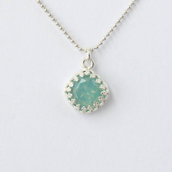 Mint necklace, sterling silver, green mint 10 mm Swarovski Pacific Opal crystal in a gallery crown setting, Valentine's Day gift