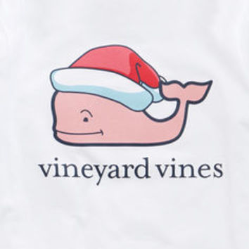 Girls Long-Sleeve Santa Hat Whale Tee