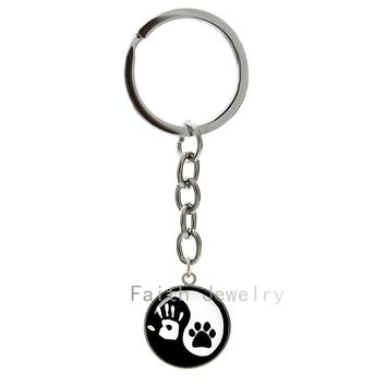 Yin Yang Tai Chi keychain vintage human handprint and cute pet dog paw print tai ji art picture key chains best friend gift 1344