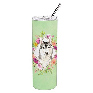 Siberian Husky Green Flowers Double Walled Stainless Steel 20 oz Skinny Tumbler CK4370TBL20