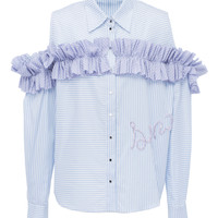 Ruffled Cold Shoulder Button Down | Moda Operandi
