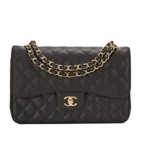 Chanel Black Quilted Caviar Jumbo Classic Double Flap Gold Hardware Shoulder Bag