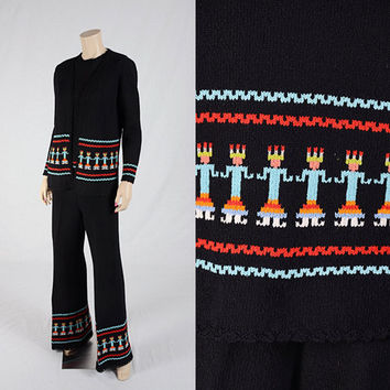 Vintage 60s 70s Indian Bell Bottom Kachina Doll Knit Pantsuit 1960s 1970s 3-pc Jacket Top & Pants Outfit Native American Figures Wide Leg