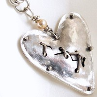 Sterling silver broken heart handforged necklace with handmade chain | Metal_Artistry - Jewelry on ArtFire