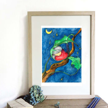 Art illustration print A4, original drawing,home decor, kids room decor, original newborn baby gift, nursery wall art illustrated poster