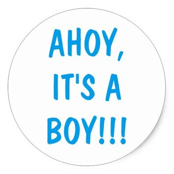 Ahoy it's a boy white and blue baby shower sticker