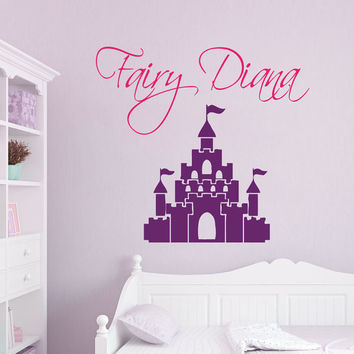 Fairy Girl Wall Decals Custom Personalized Name Decal Home Fairy Castle Vinyl Sticker Fairytale Art Kids Nursery Baby Room Decor kk866