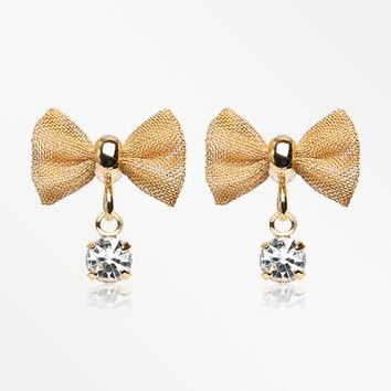 A Pair of Golden Dainty Mesh Bow-Tie Sparkle Dangle Ear Stud Earrings
