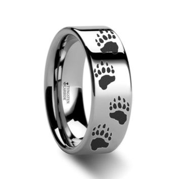Bear Paw Prints Engraved Tungsten Carbide Ring