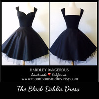 Black Dahlia SATEEN Knit Dress, Cap Sleeved VLV Rockabilly Pin Up Cocktail Party, Casual Cotton SATEEN, Pinup Bridesmaid