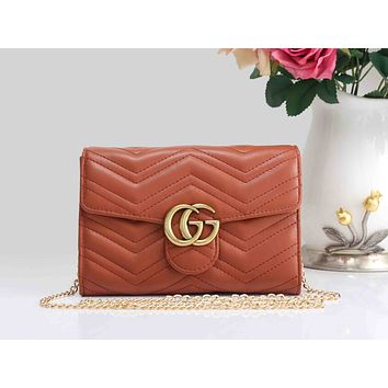 Gucci Fashion Ladies Pure Color GG Leather Metal Chain Crossbody Shoulder Bag I-XS-PJ-BB