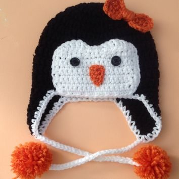 Penguin Baby Crochet Hat with Bow