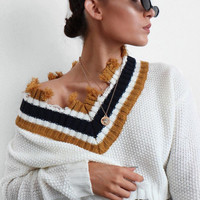 WHITE EXTREME FRAYED CONTRAST TRIM JUMPER - CHANCEY