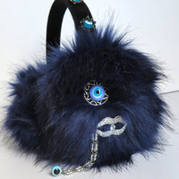 Navy earmuffs/monster faux fur earmuffs/scream queens/scream queens earmuffs/fur earmuffs/plush/ear warmers/murano glass evil eye beads