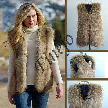 PEAPUG3 Womens Winter Fashion Black Warm Faux Fur Long Vest Jacket Coat Waistcoat HOT SV006280 = 1902117700