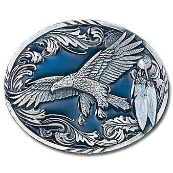 Sports Accessories - Western Eagle/Feathers Enameled Belt Buckle