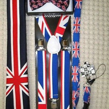 UK British Flag Y-Back Suspenders,UK Lanyard,UK Neck Tie & UK British Bow Tie-v5