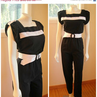 25% Sale 80's Black and White Cotton Jumpsuit. Color Block Jump Suit. Belted. Retro. Small Medium 6 8