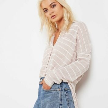 Oversized Button Up - Beige Stripe