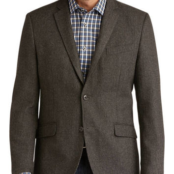 Pronto Blue Modern Fit Casual Coat, Charcoal Herringbone - Modern Fit | Men's Wearhouse