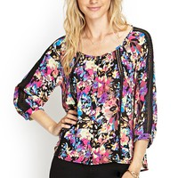 Contemporary Abstract Floral Peasant Top
