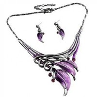 "PammyJ Silvertone Purple Leaf Statement Necklace and Earrings Set, 16"" + 3"" Ext."