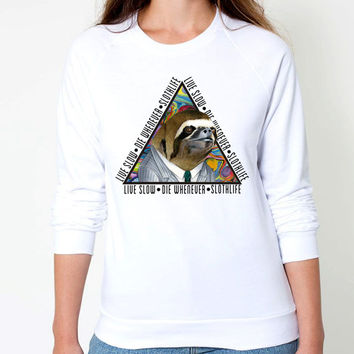 Sloth CrewNeck Sweatshirt - Triangle Sloth Color -live slow die whenever slothlife text - CrewNeck Sweaters