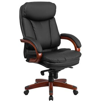 High Back Leather Executive Swivel Office Chair with Synchro-Tilt Mechanism and Wood Base