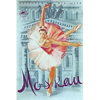 VISIT USSR MOSCOW vintage poster Russia-Soviet Union 24X36 graceful BALLET - QW0