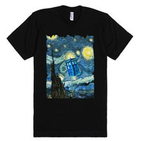 Blue Phone Booth Starry night tee tshirt-Unisex Black T-Shirt