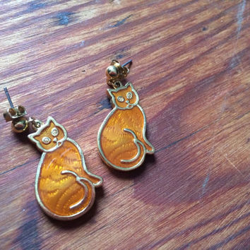 kitty costume jewelry earrings, pierced earrings, cat, orange and gold