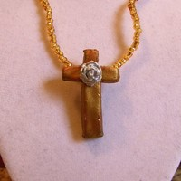 Gold Cross Necklace, Silver Rose, Clay, Beaded, Holy, Rosery, Shiny, Pendant, ooak, Crucifix, Rosary, Catholic Christian Unique Jewelry grey