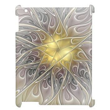 Flourish With Gold Modern Abstract Fractal Flower Case For The iPad