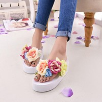 New Women Sandals Fashion Flower Summer Sandals Wedges Flip Flops Platform Slippers Shoes slippers