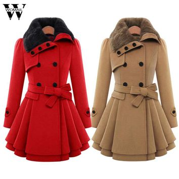 Oversized Wool Coat Women Winter Warm Trench coats abrigos mujer Long Lapel Double-breasted Thick Jacket Outwear Oc26