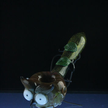 """Empire Glassworks """"The Owl"""" Glass Spoon Pipe"""