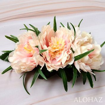 Peach Peony Garden Hawaiian Flower Hair Clip