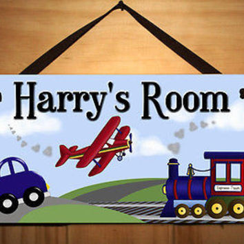 Kids Door Sign Planes Trains Automobiles Boys Room Personalized Name Sign DS0027