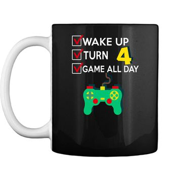 4 Yr Old Boy Game All Day Gamer Birthday Party Shirt Outfit Mug