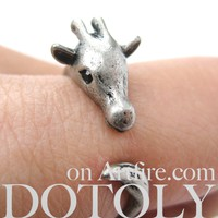 Mother Giraffe Animal Wrap Around Ring in Silver - Sizes 4 to 9 Available