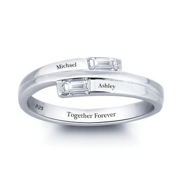 Personalized Sterling Silver White CZ 2-Stone ByPass Baguette Ring