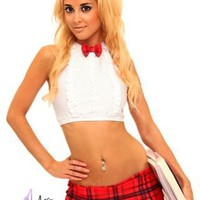 Mini Skirt Bow Tie School Girl- Pole Dancer Clothing