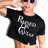 Raised on Caviar Crop Tee- Black
